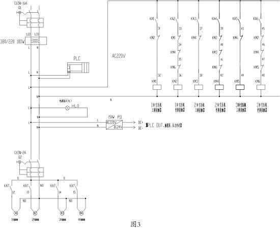 变频器与电机接线如图1,主控器接线图如图2,各接触器接线图